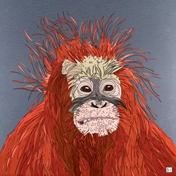 Orangutan by Dylan Izaak - Original Painting on Aluminium sized 32x32 inches. Available from Whitewall Galleries